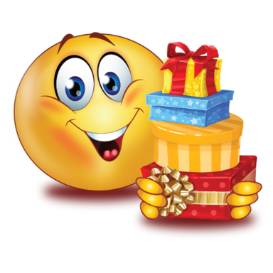 happy with gifts />                                                                                        