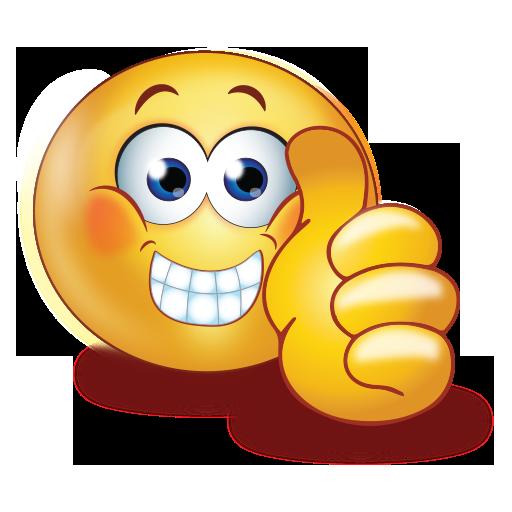 staring with thumb up emoji