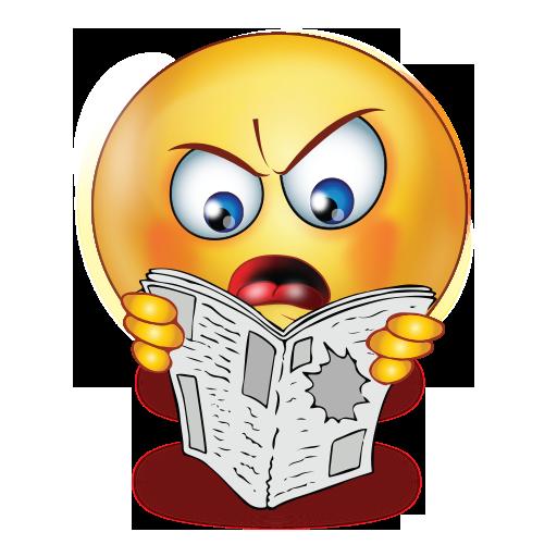angry reading newspaper emoji