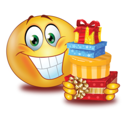 big smile with gifts stickers