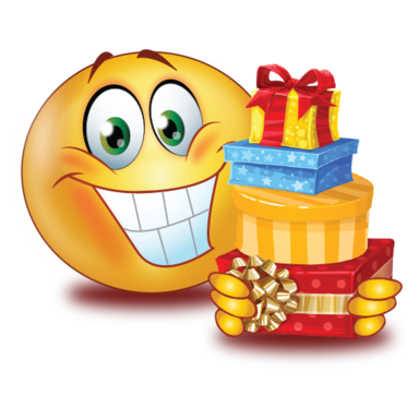 big smile with gifts />                                                                                        
