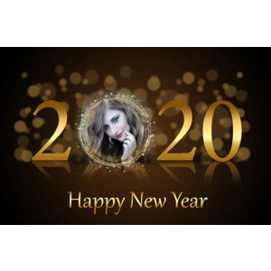 Happy New Year 2020 Golden Clock photo effect