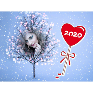 Happy New Year 2020 Light Tree photo effect