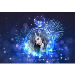 Happy New Year 2020 Snow Clock photo effect