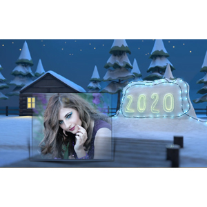 Happy New Year 2020 Snow House photo effect