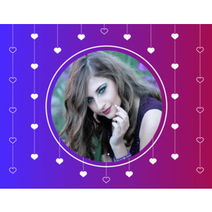Image Your Lover On A Blue Circle And Small Hearts photo effect