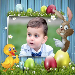 Picture Of Your Child On The Card And Cartoon Duck photo effect