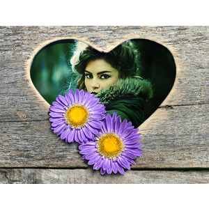Your Image On The Heart And Two Flowers photo effect