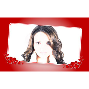 Your Photo On A White Background And Red Card photo effect