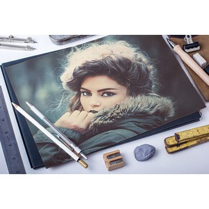 Your Photo On Paper And Drawing Tools photo effect