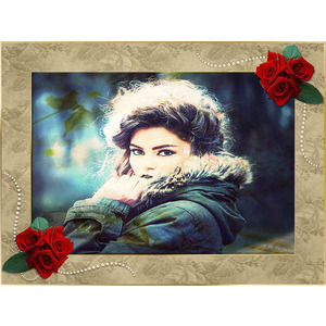 Your Photo On The Frame And Flowers 567 photo effect