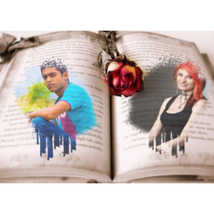 Your Picture And Your Lover On An Old Book And A Rose photo effect