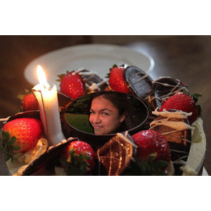 Your Picture On A Chocolate Cake And Strawberries photo effect