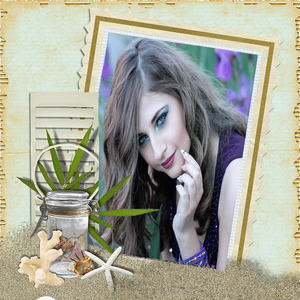Your Picture On A Frame And A Blue Background And A Plant photo effect