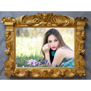 Your Picture On A Frame Golden Old photo effect