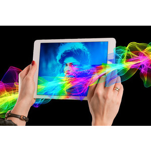 Your Picture On Mobile And Rainbow Colors photo effect