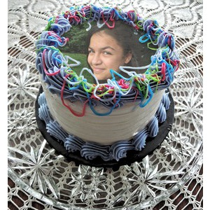 Your Picture On The Cake With Colored Stripes photo effect