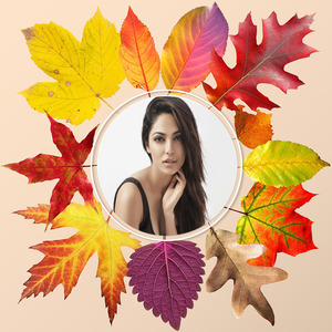 Your Picture On The Colorful Fall Leaves photo effect