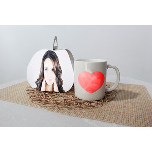 Your Picture On The Tray Beside The Cup And The Heart photo effect