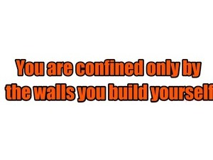 You are confined only by the walls you build yourself