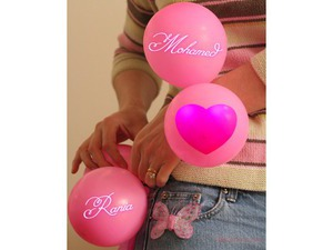 Your name and your lover a pink balloons