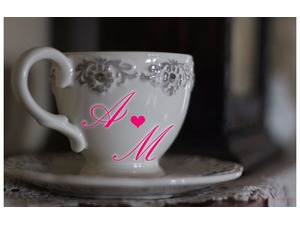 Your lover's name on the silver ceramic cup