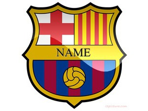 write name on barcelona logo