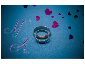 Your lover's name on the marriage blue background Ring 4