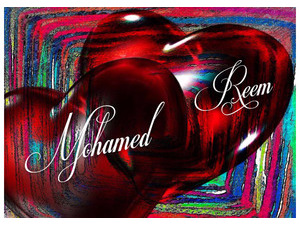 My name and my love to the hearts of the background of colored lines